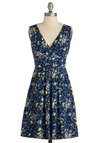 Bright Night Dress - Blue, Orange, Yellow, Floral, Bows, Pleats, A-line, Empire, Sleeveless, Party, Casual, Spring, Summer, Short