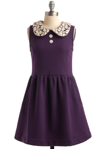 Fleece Cumpleaños Dress by Knitted Dove - Purple, Floral, Lace, Peter Pan Collar, A-line, Sleeveless, Spring, Fall, Solid, Buttons, White, Casual, Mid-length