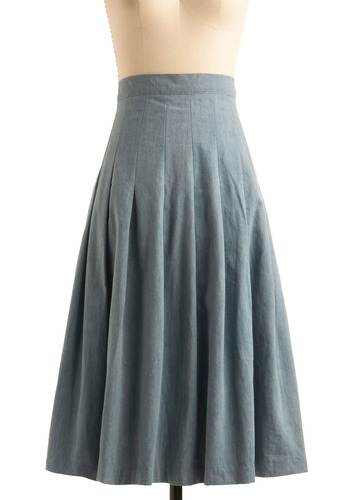 Durable Dream Skirt by Motel - Blue, Solid, Pleats, A-line, Maxi, Casual, Spring, Fall, Boho, Long