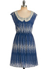Lapis Lace-uli Dress - Blue, White, Stripes, Floral, Lace, Peter Pan Collar, A-line, Sleeveless, Work, Casual, Spring, Fall, Mid-length