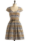 Fetching Fresco Dress by Corey Lynn Calter - Multi, Red, Yellow, Blue, Tan / Cream, White, Stripes, Floral, Print, Pleats, Party, Casual, A-line, Cap Sleeves, Mid-length