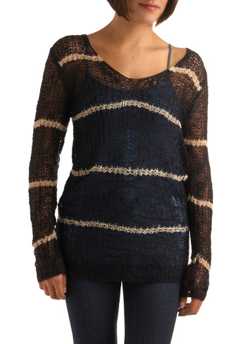 Go Width It Sweater - Blue, Tan / Cream, Stripes, Casual, Long Sleeve, Fall, Winter, Mid-length