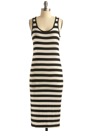 Recharge Your Batteries Dress - Stripes, Casual, Maxi, Sheath / Shift, Tank top (2 thick straps), Summer, Long, Nautical, Vintage Inspired, 60s, Black, White