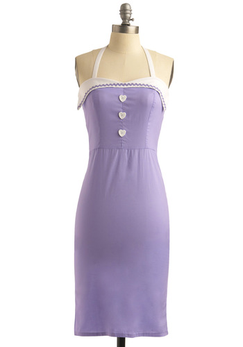 Birthday Cupcake Dress - Purple, Trim, Wedding, Party, 40s, 50s, Sheath / Shift, Halter, Spring, Summer, Rockabilly, Pinup, Mid-length