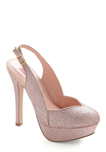 Betsey Johnson Truly Outrageous Heel by Betsey Johnson - Pink, Sequins, Formal, Prom, Wedding, 30s, 40s, Statement, Spring, Summer, Winter, Fairytale, Buckles
