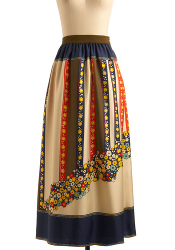 Tantalizing Tansies Skirt by Lauren Moffatt - Multi, Red, Yellow, Green, Blue, Tan / Cream, Stripes, Floral, A-line, Maxi, Party, Casual, Boho, Spring, Summer, Fall, Print, Long