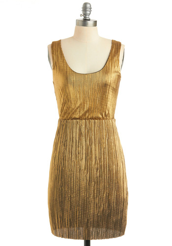 Discotheque Savvy Dress - Gold, Solid, Wedding, Party, Shift, Tank top (2 thick straps), Fall, 80s, 70s, Mid-length