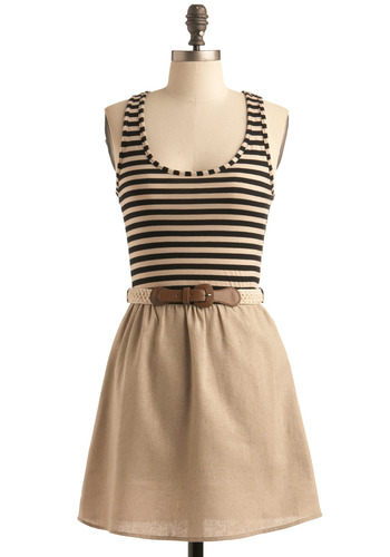 Suburban Street Fair Dress - Tan, Stripes, Casual, Twofer, Tank top (2 thick straps), Summer, Black, Crochet, A-line, Racerback, Show On Featured Sale, Short, Belted, Scoop
