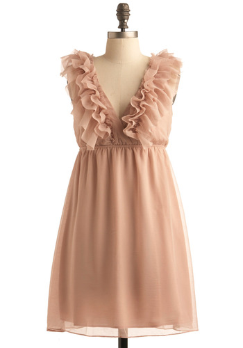 Cupcake Decorating Party Dress - Solid, Ruffles, Wedding, Party, A-line, Sleeveless, Spring, Cutout, Empire, Mid-length, Tan, Pink