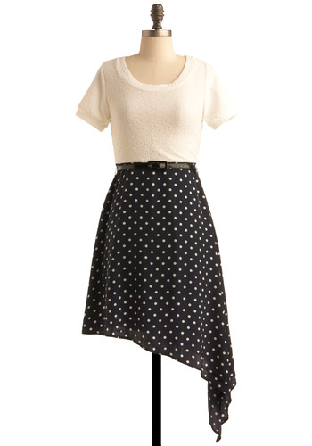Spot from Afar Dress - Polka Dots, Buckles, A-line, Short Sleeves, Party, Work, Rockabilly, Blue, White, Mid-length