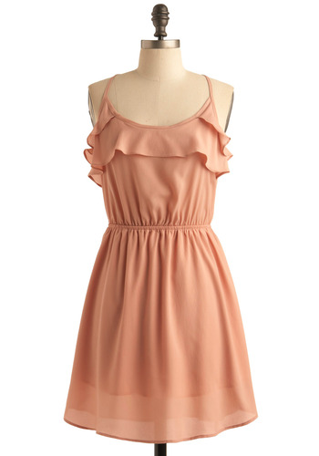 Peach Petals Dress - Orange, Pink, Solid, Ruffles, Tiered, A-line, Spaghetti Straps, Racerback, Party, Casual, Spring, Summer, Mid-length