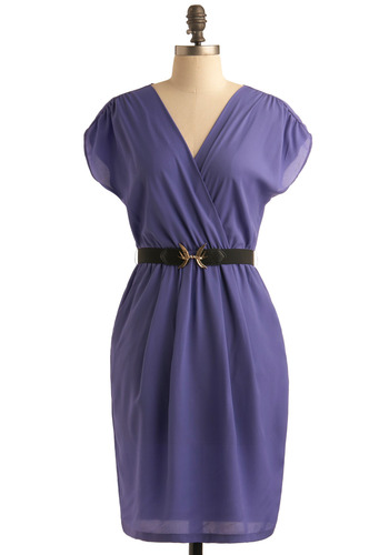 Fly the Good Flight Dress - Purple, Solid, Casual, Shift, Short Sleeves, Wrap, Mid-length