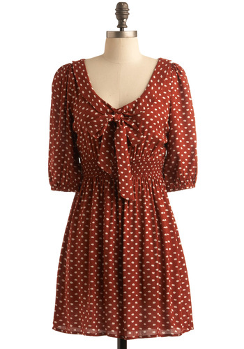 Burnt Sienna Sweetheart Dress - Orange, Brown, White, Polka Dots, A-line, Empire, Short Sleeves, Work, Casual, Vintage Inspired, Fall, Boho, 70s, Short, Tie Neck, Scholastic/Collegiate