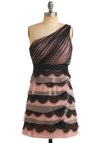 Pirouette Perfect Dress - Lace, Scallops, Tiered, A-line, Empire, One Shoulder, Special Occasion, Prom, Wedding, Party, Summer, Black, Pink, Mid-length