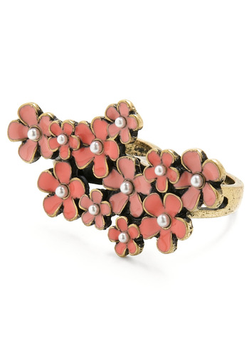Stunning Sakura Ring - Pink, White, Gold, Flower, Pearls