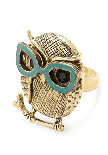 Spec-ulative Species Ring - Gold, Blue, Black, Rhinestones, Party, Casual, Owls