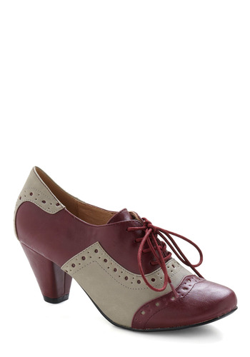 School-astic Shoe by Chelsea Crew - Red, Grey, Work, Vintage Inspired, Fall, 30s, Scholastic/Collegiate, Lace Up, Mid