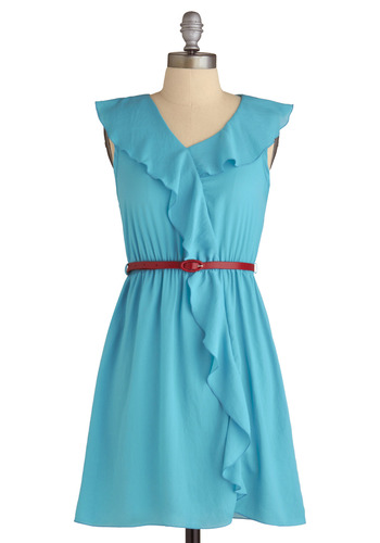 Choose a Tropic Dress - Blue, Red, Solid, Ruffles, A-line, Wrap, Sleeveless, Party, Spring, Summer, Fall, Mid-length