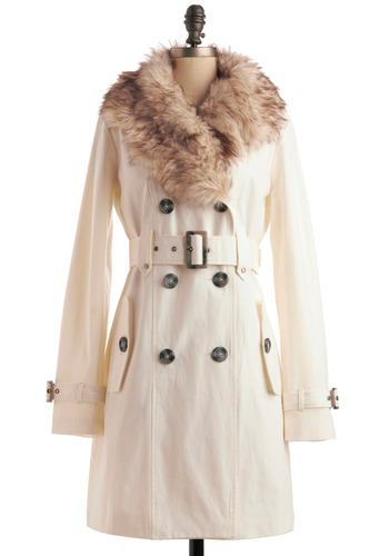 Switching Trains Coat in Ivory by BB Dakota - White, Solid, Buttons, Pockets, Trim, Long Sleeve, Long, 2.5, Press Placement