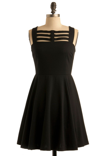 Licorice Cordial Dress by BB Dakota - Black, Solid, Cutout, A-line, Tank top (2 thick straps), Wedding, Party, Statement, Mid-length