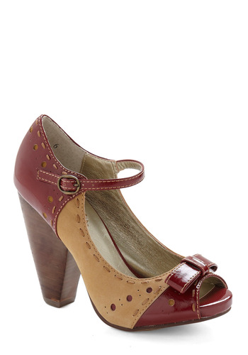 Asterisk Heel by Seychelles - Red, Tan, Bows, Buckles, Cutout, Party, Work, Casual, 40s, 50s, Spring, Summer, Fall, Pinup