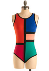 Rubix 'n' Match Onesie by Motel - Multi, Orange, Green, Blue, Pink, Black, Tank top (2 thick straps), Party, 60s, Spring, Summer, Fall, Vintage Inspired, Mid-length