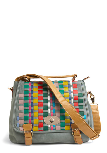 Up, Up, and Array Bag - Blue, Multi, Buckles, Pockets, Woven, Multi, Faux Leather