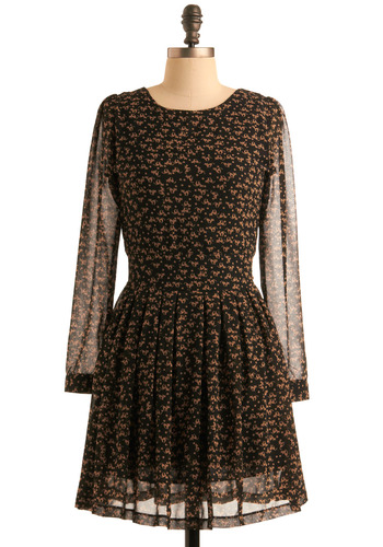 Spread the Mews Dress - Black, Brown, Print with Animals, Novelty Print, Pleats, A-line, Long Sleeve, Party, Work, Casual, Vintage Inspired, Fall, Short