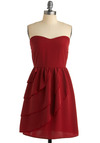 Vermillion to One Dress - Red, Solid, Tiered, A-line, Strapless, Party, Spring, Summer, Fall, Mid-length