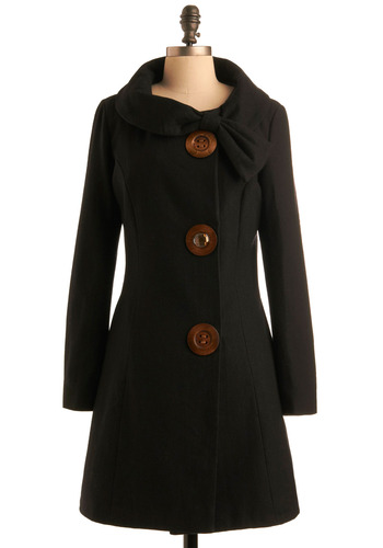 Amber Road Coat in Black - Black, Solid, Bows, Buttons, Pockets, Rhinestones, Long Sleeve, Work, Casual, Vintage Inspired, Fall, Winter, Long, 2