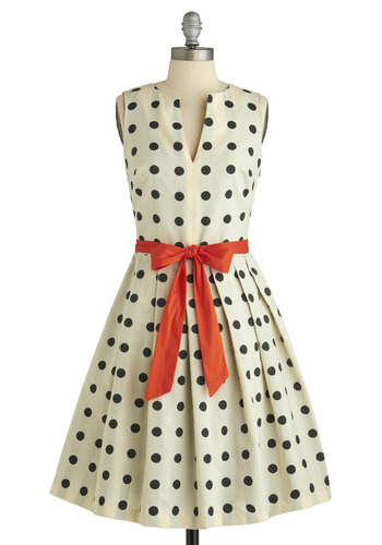 Dice as Nice Dress by Eva Franco - Cream, Orange, Black, Polka Dots, Pleats, Sleeveless, 50s, Long, Belted, Fit & Flare, Daytime Party, Tis the Season Sale, Graduation