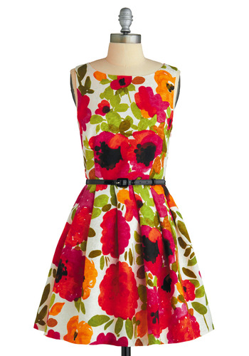 Pop Goes the Easel Dress by Eva Franco - Multi, Red, Orange, Green, White, Floral, Pleats, A-line, Sleeveless, Pink, Black, Wedding, Party, 50s, Summer, Fall, Short, Fit & Flare