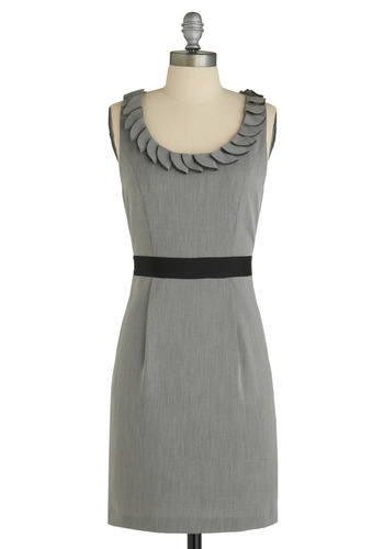 A Great Grey at the Office Dress - Grey, Black, Solid, Pockets, Trim, Sheath / Shift, Tank top (2 thick straps), Work, Mid-length
