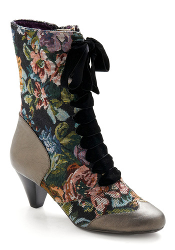 What's on Tapestry Boot by Poetic License - Multi, Green, Pink, Black, Grey, Floral, Bows, Party, Casual, Vintage Inspired, Fall, Winter, French / Victorian, Steampunk