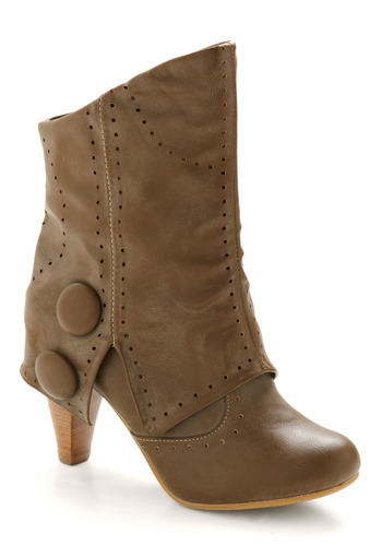 Start Your Engine Boot - Brown, Solid, Buttons, Casual, Fall, Winter