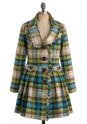 Fresh Aerial Coat by Nick & Mo - Tan / Cream, Plaid, Buttons, Pleats, Pockets, A-line, Long Sleeve, Winter, Multi, Green, Blue, 3, Long