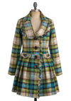 Fresh Aerial Coat by Nick & Mo - Tan / Cream, Plaid, Buttons, Pleats, Pockets, A-line, Long Sleeve, Winter, Long, Multi, Green, Blue, 3