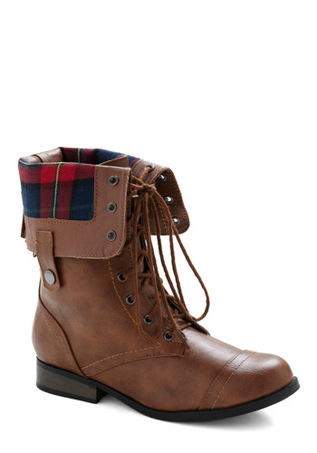 Just Trekkin' In Boot - Brown, Red, Blue, Solid, Plaid, Casual, Fall, Winter