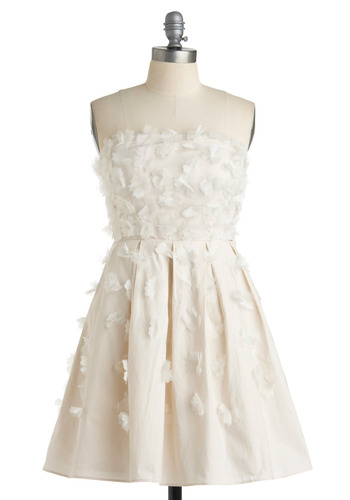 Clair de Lune Dress - White, Solid, Flower, Pleats, A-line, Strapless, Formal, Prom, Wedding, Party, Spring, Mid-length