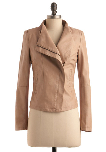 Chai Speed Jacket - Tan, Cream, Solid, Pockets, Long Sleeve, Casual, Urban, Fall, Short, 2.5