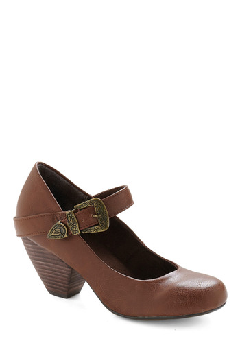 Student of Chic Heel - Brown, Solid, Buckles, Casual, Spring, Fall, Winter