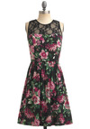 Gardening a Lot of Attention Dress - Multi, Green, Pink, Floral, Lace, A-line, Sleeveless, Party, Spring, Summer, Wedding, Fall, Black, Mid-length
