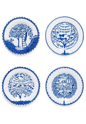 Living a Foodie-tale Plate Set - Blue, Fairytale, White