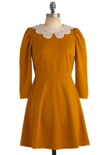 Gourd Garden Dress - Yellow, Solid, Crochet, Cutout, Lace, Peter Pan Collar, A-line, Long Sleeve, Party, Work, Casual, Vintage Inspired, Fall, Short, Fit & Flare