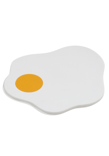I'm Only Yolking Trivet - White, Orange