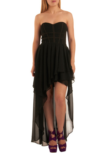 Storm in the Air Dress - Black, Solid, Ruffles, Tiered, Strapless, Special Occasion, Short, Cocktail, High-Low Hem, Prom, Chiffon, Sheer, Woven, Top Rated