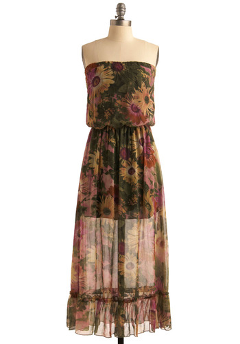 The Real Deal Dress - Multi, Yellow, Green, Purple, Brown, Floral, Ruffles, Party, Boho, Maxi, Strapless, Spaghetti Straps, Spring, Summer, Fall, Long