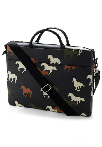 Herd It All Laptop Bag - Brown, Green, Brown, Tan / Cream, Print with Animals