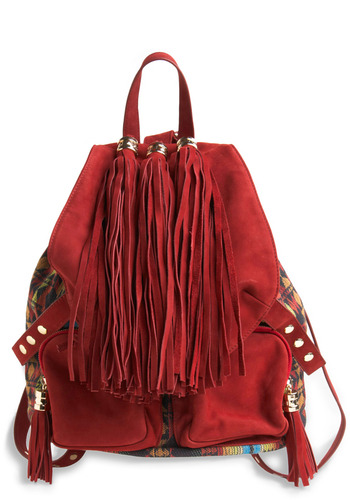 Sassy Tassels Backpack by Jeffrey Campbell - Red, Multi, Print, Pockets, Tassels, Boho