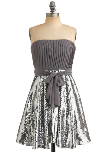 Stylish Self Di-sequin Dress - Silver, Grey, Solid, Pleats, Sequins, Special Occasion, Prom, Party, A-line, Strapless, Empire, 80s, Mid-length